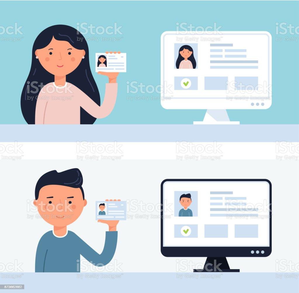 Personas sosteniendo tarjetas de identificación. Ilustración de Vector de verificación de cuenta - ilustración de arte vectorial