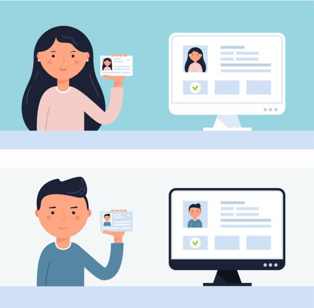 ilustraciones, imágenes clip art, dibujos animados e iconos de stock de personas sosteniendo tarjetas de identificación. ilustración de vector de verificación de cuenta - carne