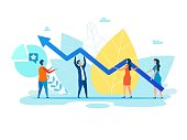 Cartoon People, Men and Women Holding Growth Graph, Zigzag Arrow. Foliage Backdrop. Teamwork Metaphor. Financial Success, Cooperation and Effective Social Media Marketing. Vector Flat Illustration