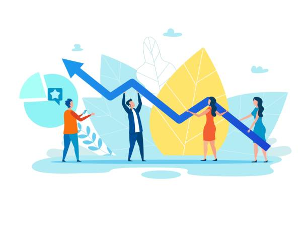 People Holding Variable Graph Arrow over Foliage Cartoon People, Men and Women Holding Growth Graph, Zigzag Arrow. Foliage Backdrop. Teamwork Metaphor. Financial Success, Cooperation and Effective Social Media Marketing. Vector Flat Illustration stock market stock illustrations