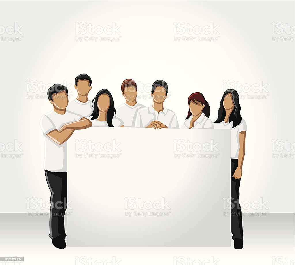 people holding white board vector art illustration