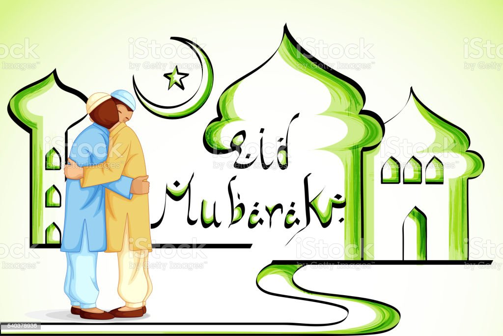 People hugging and wishing Eid Mubarak vector art illustration