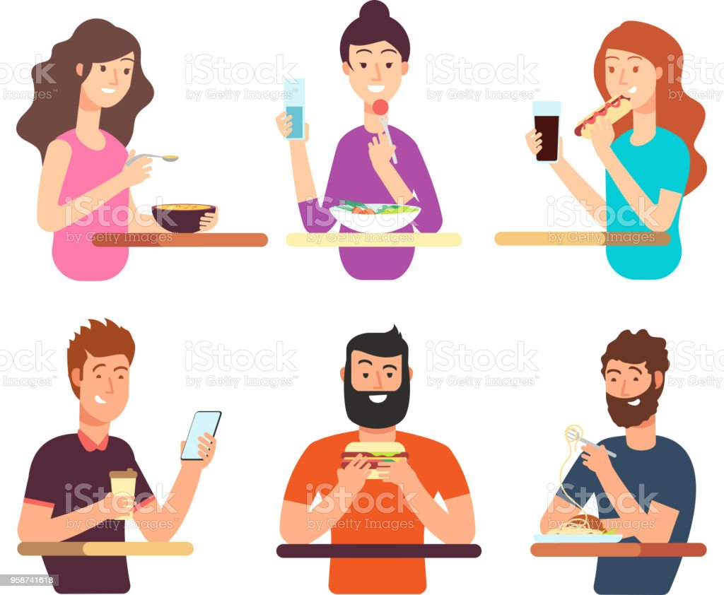 People Hungry Persons Eating Different Foods Cartoon Characters Eat