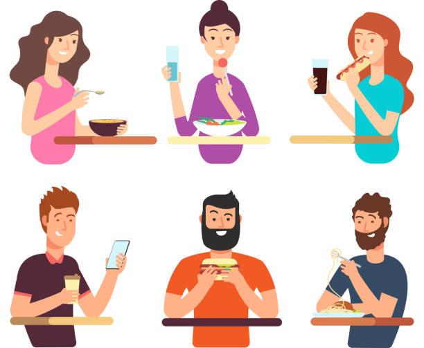 personen, hungrig verzehr von verschiedenen lebensmitteln. comic-figuren essen vektor-set isoliert auf weißem hintergrund - essen mund benutzen stock-grafiken, -clipart, -cartoons und -symbole
