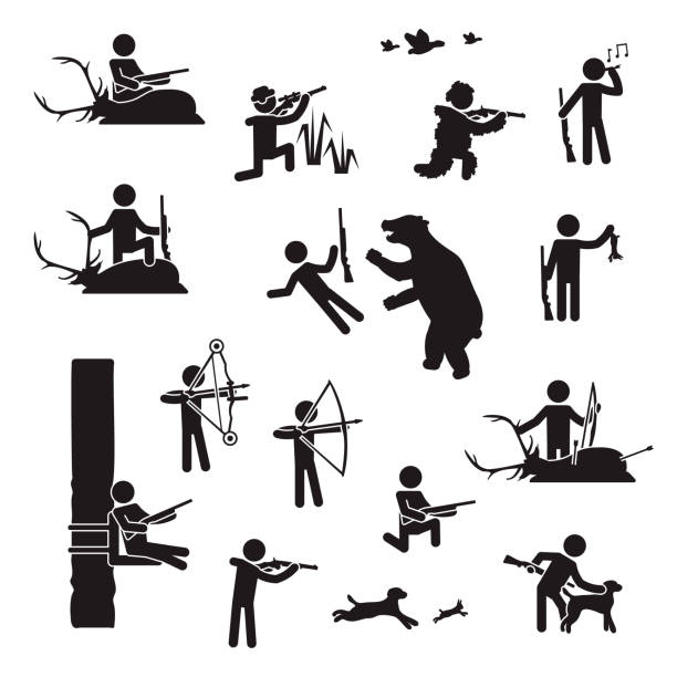 people hunting icon set. vector. - dead animal stock illustrations