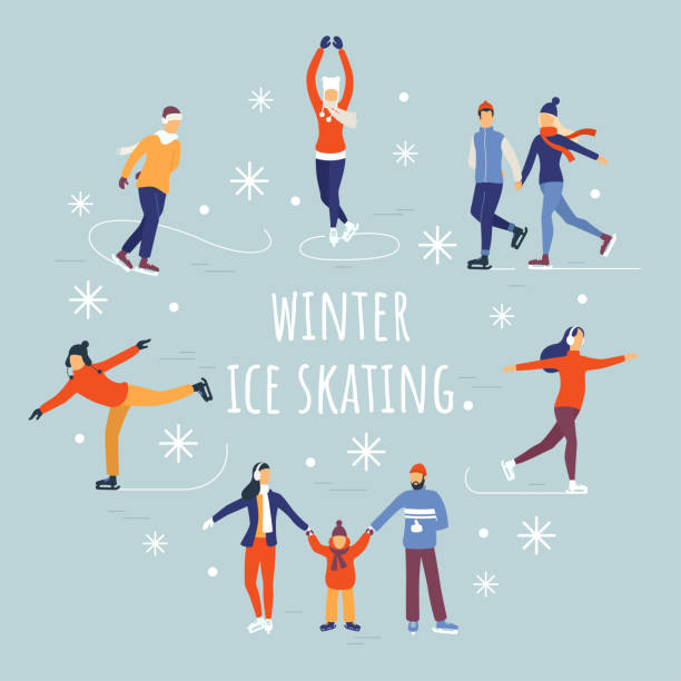 People ice skating vector illustration. Winter ice rink party with cartoon characters and falling snow. Flat composition for your design. Eps 10. People ice skating vector illustration. Winter ice rink party with cartoon characters and falling snow. Flat composition for your design. Eps 10. skate stock illustrations