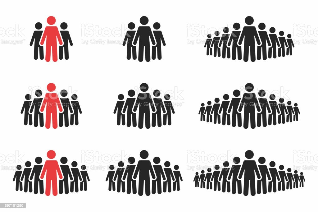 People icon set. Crowd of people in black and red colors. Group of people in pictogram shape - ilustração de arte vetorial