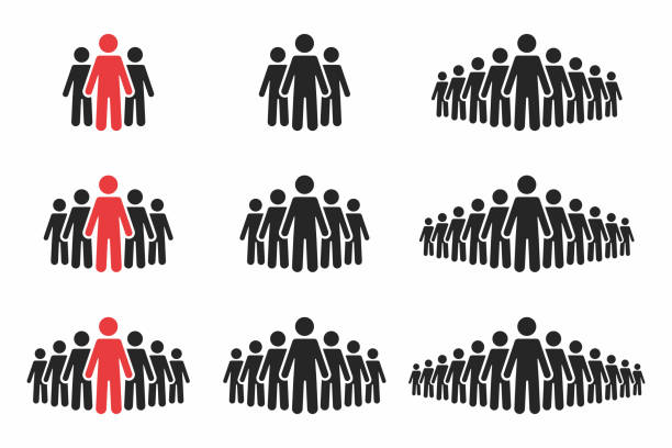 People icon set. Crowd of people in black and red colors. Group of people in pictogram shape vector art illustration