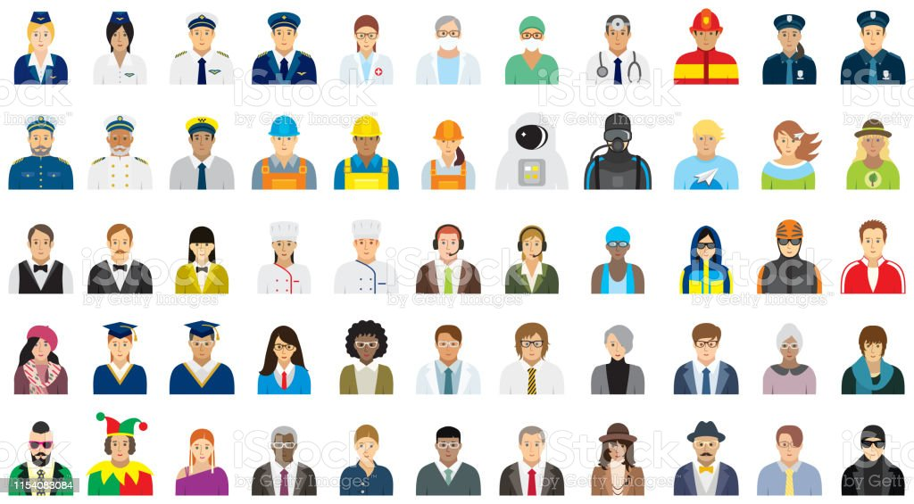 People icon set (option face) - different professions. - Royalty-free Administrador arte vetorial