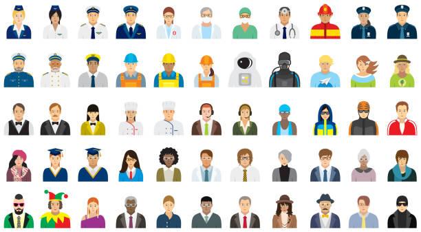 ilustrações, clipart, desenhos animados e ícones de jogo do ícone dos povos (face da opção)-profissões diferentes. - work