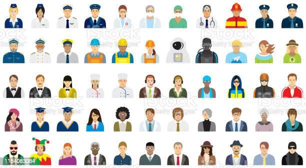People Icon Set Different Professions - Arte vetorial de stock e mais imagens de Administrador