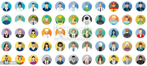 Set of fifty-five people icons with different professions.