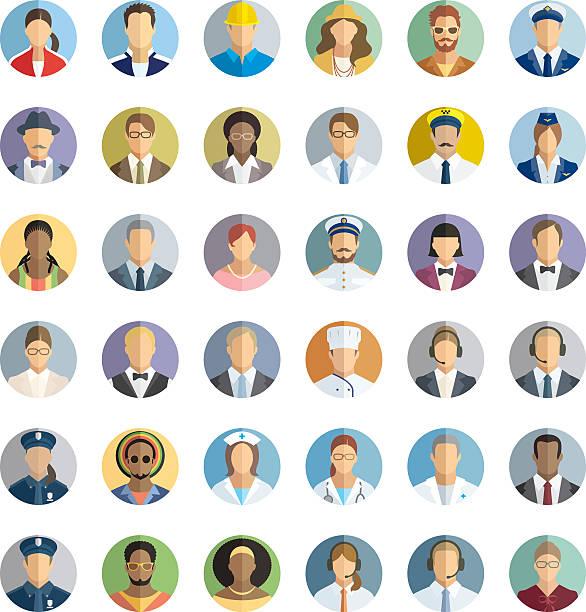 illustrazioni stock, clip art, cartoni animati e icone di tendenza di set di icone di persone con diverse professioni. - organizzatore della festa