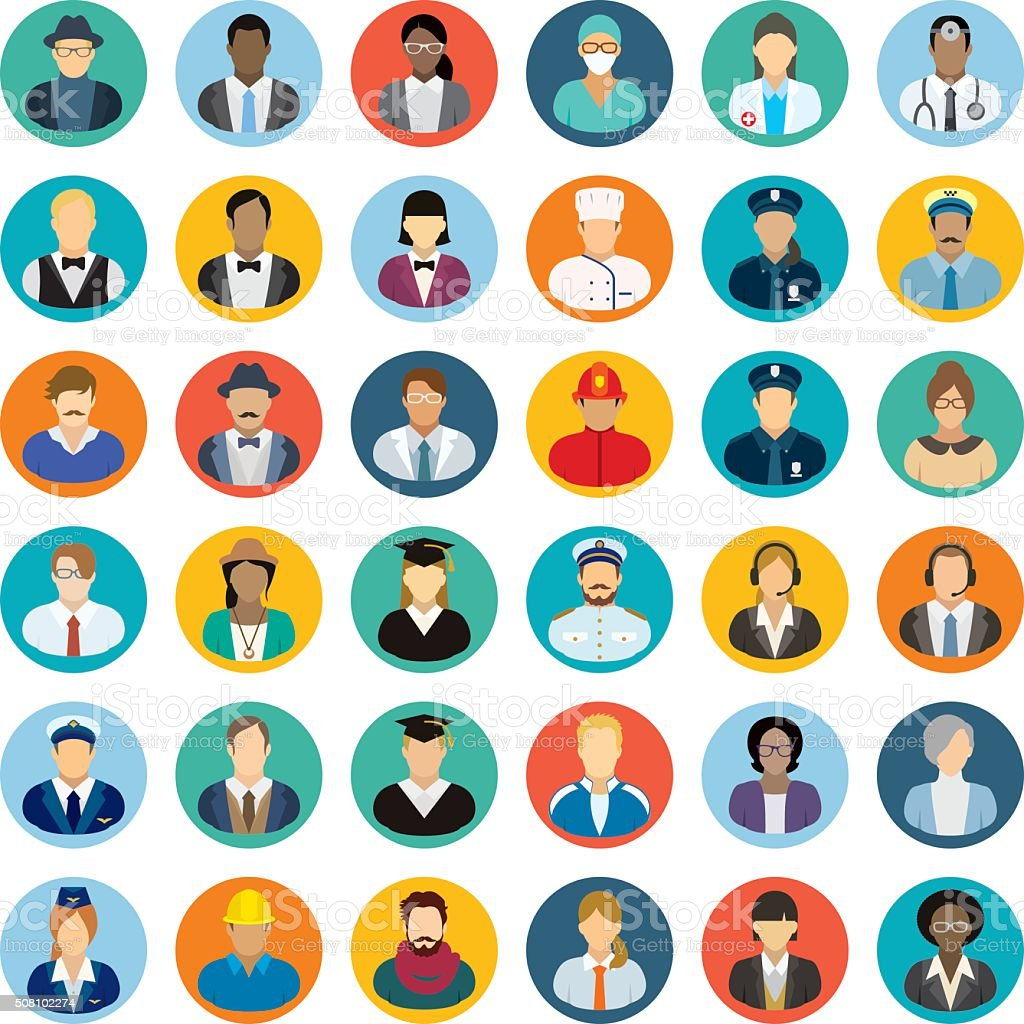 Conjunto de ícones de pessoas diferentes profissões. - ilustração de arte em vetor