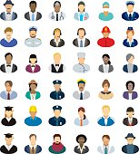 Set of thirty-six people icons with different professions.