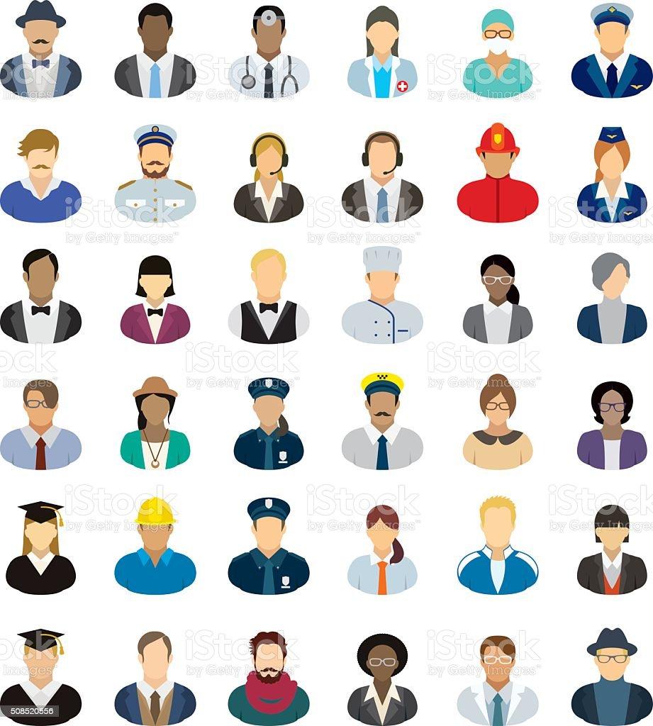 Menschen-icon-set-verschiedene Berufsgruppen. – Vektorgrafik
