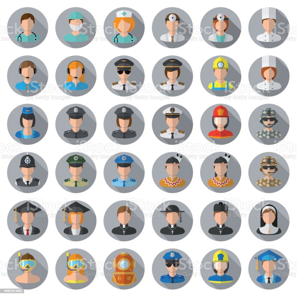 People icon set - different professions vector art illustration