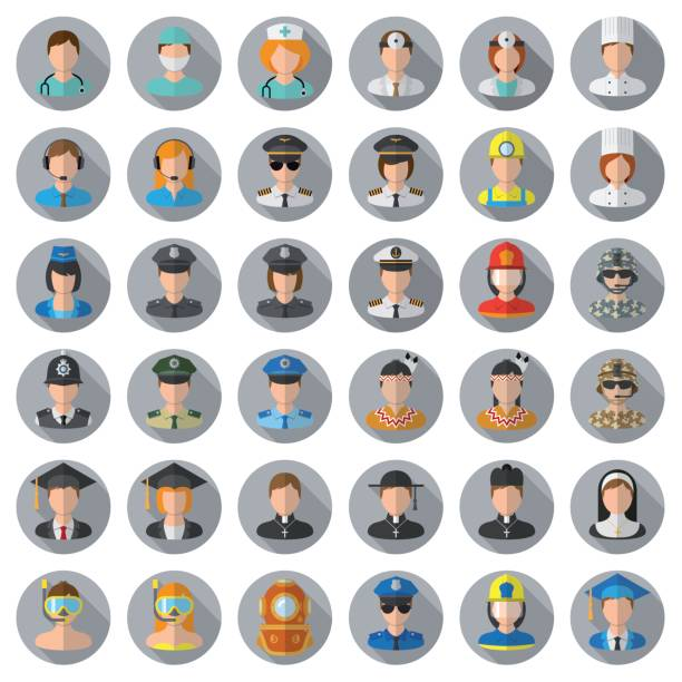 people icon set - different professions - police officer stock illustrations, clip art, cartoons, & icons
