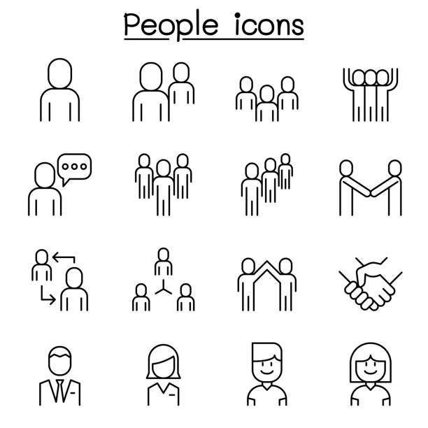 stockillustraties, clipart, cartoons en iconen met het pictogram mensen is ingesteld in dunne lijnstijl - wat