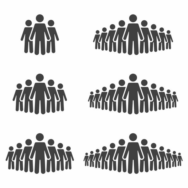 People icon set. Stick figures, crowd signs isolated on background vector art illustration