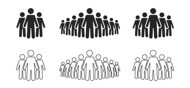 People icon set. Stick figures, people crowd icon for infographic isolated on background. Vector People icon set. Stick figures, people crowd icon for infographic isolated on background. Vector human representation stock illustrations