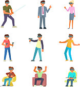 VR people icon set vector flat illustration