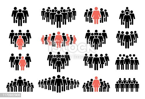 Vector illustration of the people icon set. Isolated on white background.