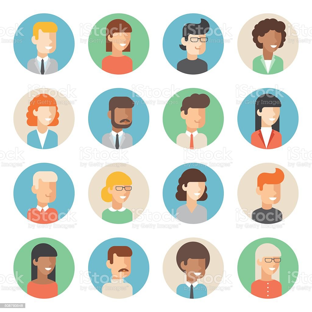 People Icon Set Stock Vector Art Amp More Images Of Adult