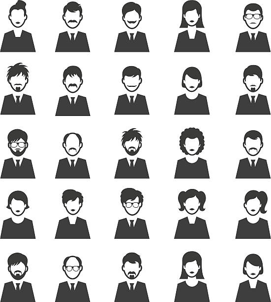people icon set - old man computer silhouette stock illustrations, clip art, cartoons, & icons