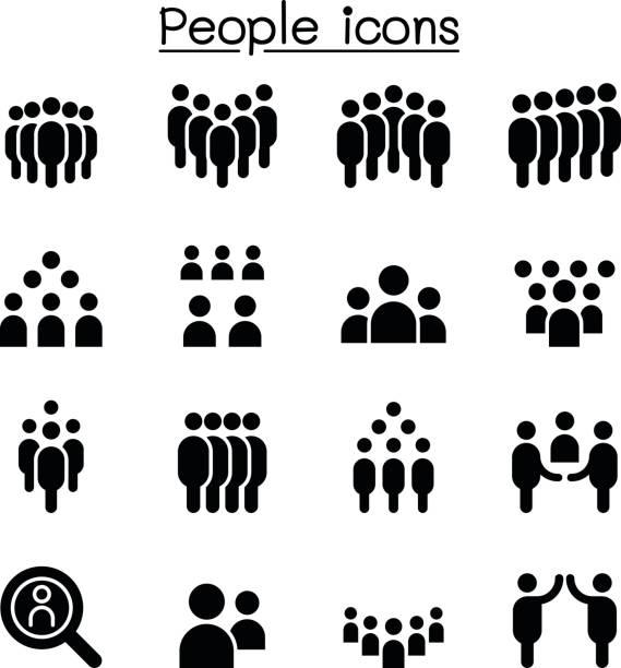 bildbanksillustrationer, clip art samt tecknat material och ikoner med personer ikonuppsättning vektorillustration - kö