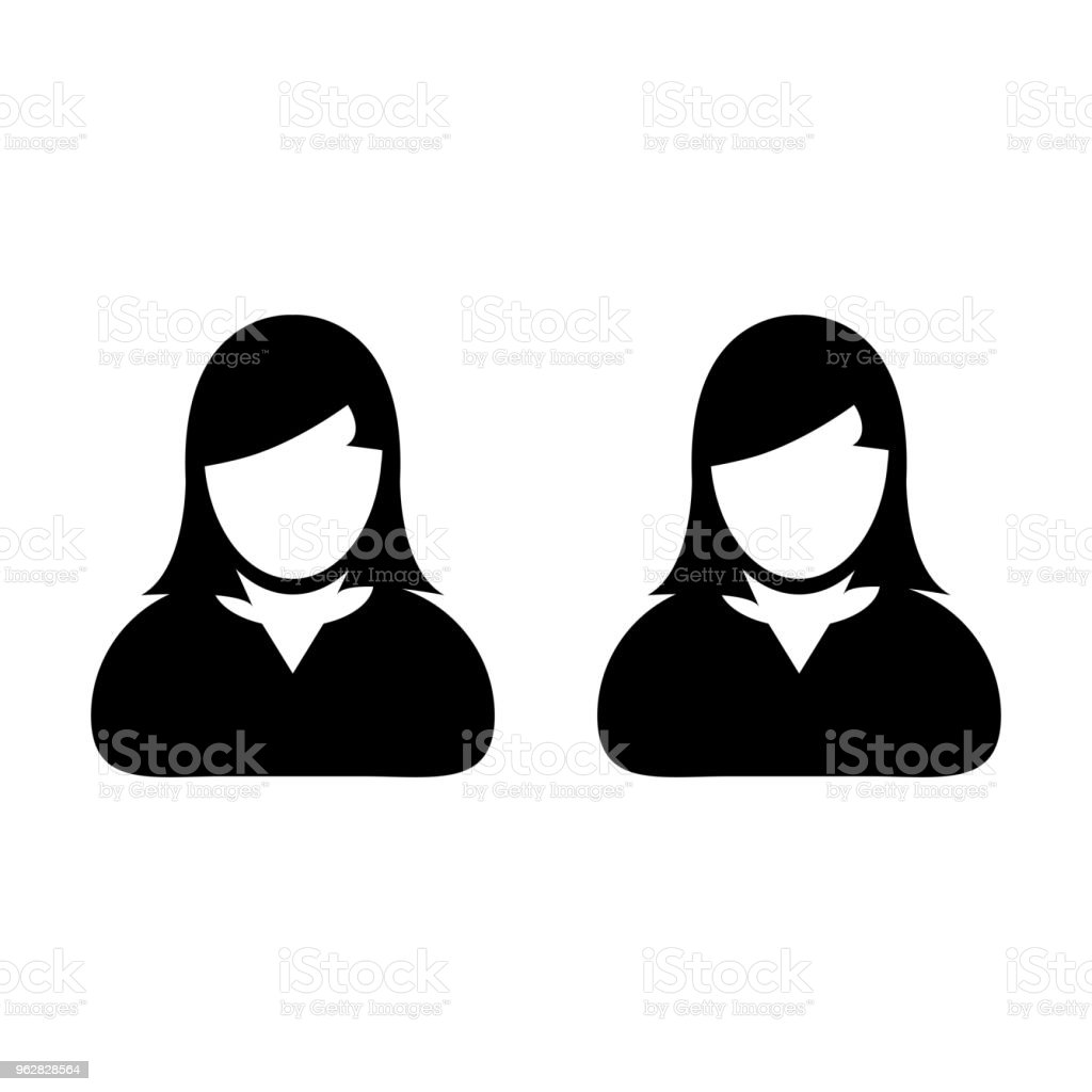 People icon vector female group of persons symbol avatar for business team management in flat color glyph pictogram illustration - arte vettoriale royalty-free di Adulto