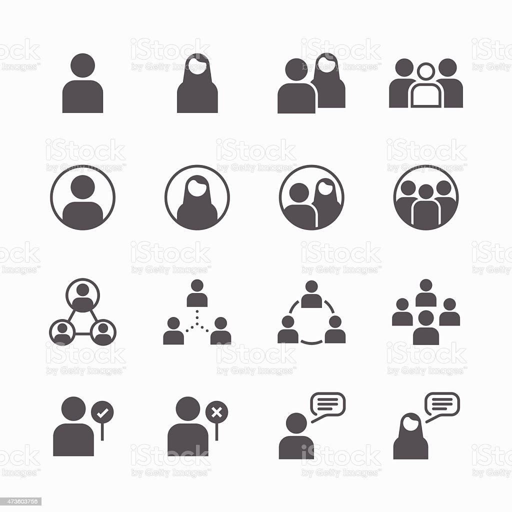 people Icon vector flat line icons set concept. vector art illustration