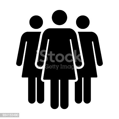 People Icon Vector Group Of Women Team Person Symbol For Business