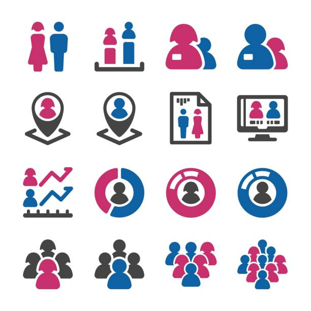 people icon people with gender icon set population explosion stock illustrations