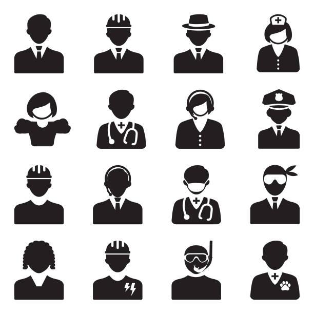 illustrations, cliparts, dessins animés et icônes de icônes de personnes. design plat noir. illustration vectorielle. - bureau police