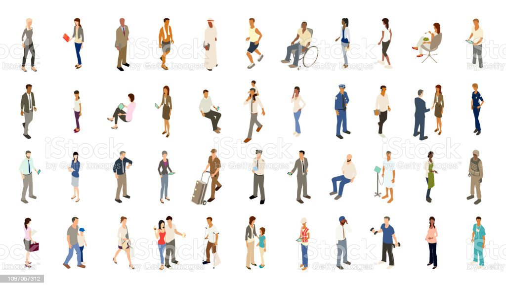 People icons bold color Isometric people illustrations include men, women, and children dressed for work and recreation. People walk, stand, sit, and perform a variety of activities. Use for architectural renderings, infographics, and illustrations. EPS vector and JPEG included. Flat vectors provided in a bold warm color palette. Adult stock vector