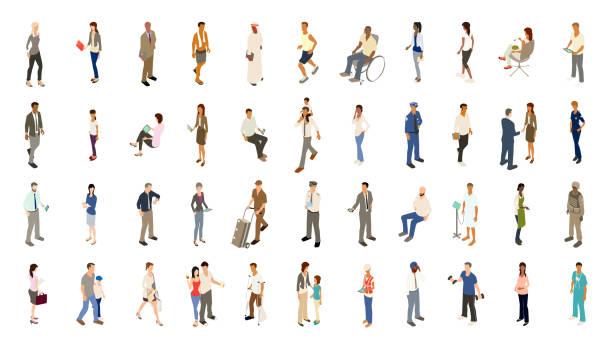 ikony osób pogrubiony kolor - rzut izometryczny stock illustrations
