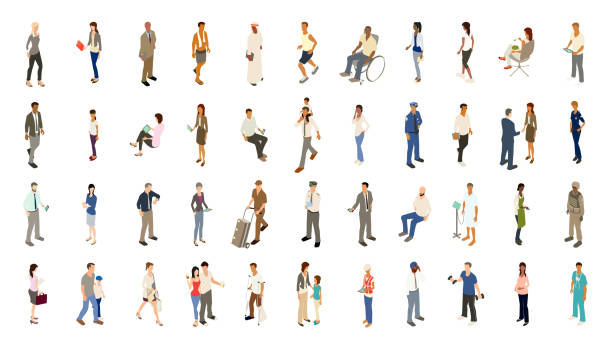 people icons bold color - barista stock illustrations, clip art, cartoons, & icons