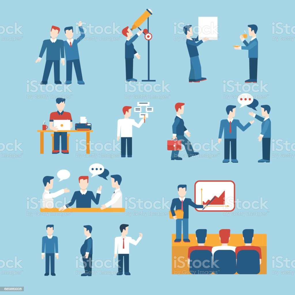 people icons business man situations web template vector icon set