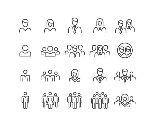 ikony ludzi - seria classic line - people stock illustrations