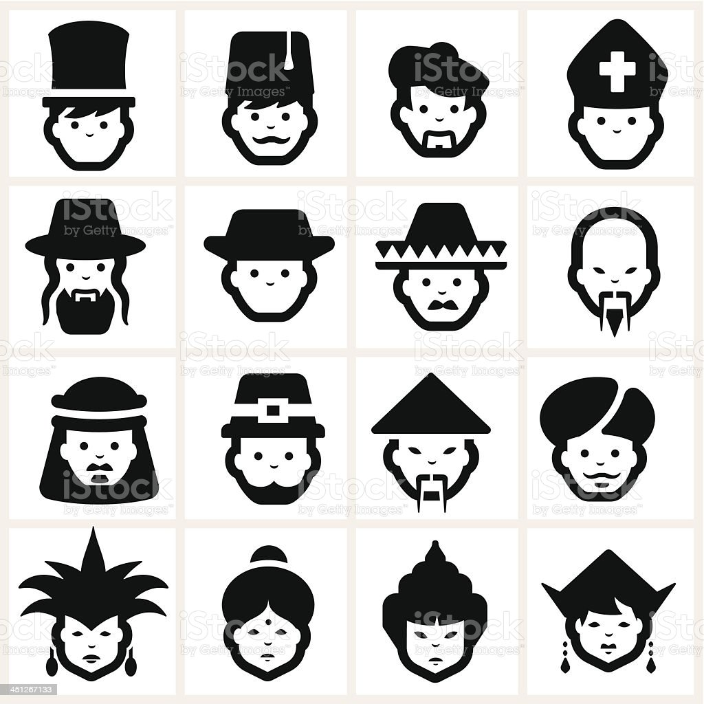 People Icons five vector art illustration
