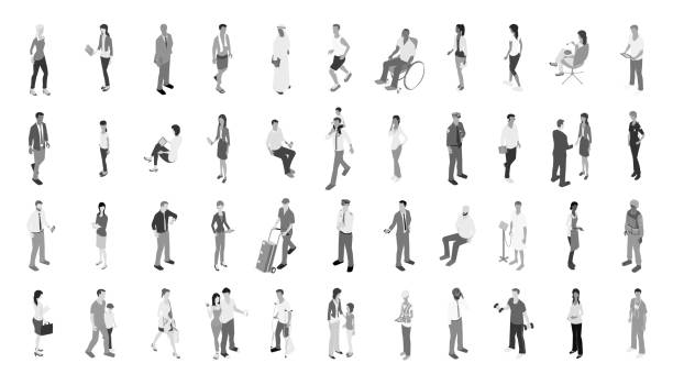people icons grayscale - mathisworks people icons stock illustrations, clip art, cartoons, & icons
