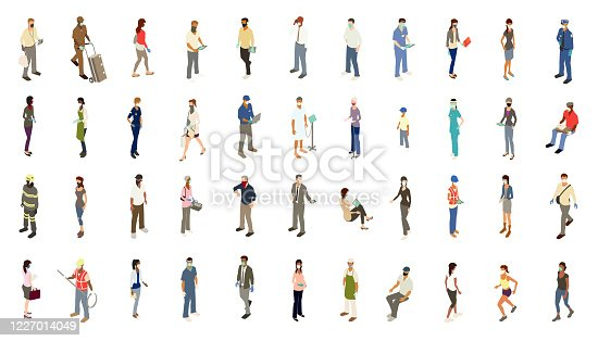 In this icon set, 44 diverse people wear personal protection equipment (PPE) including face masks, bandanas, gloves, and face shields. Detailed illustrations include essential workers including police officers, a firefighter, chef, delivery person, and food service, healthcare, and construction workers. Remaining men and women are dressed for business, grocery shopping, working out, or simply stand or walk in casual clothing. Many are using mobile or tablet devices.