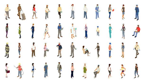 ilustracja ikon osób ppe - rzut izometryczny stock illustrations
