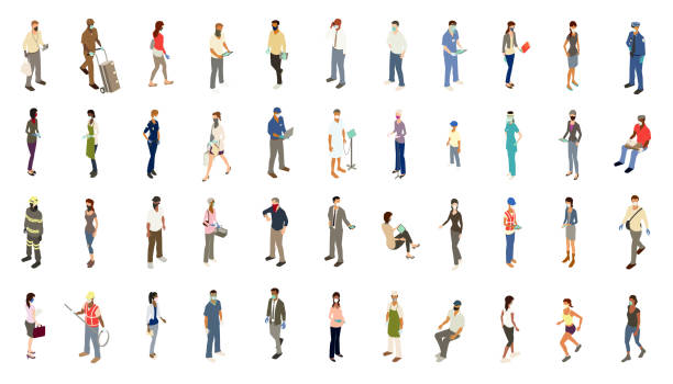 PPE people icons illustration vector art illustration