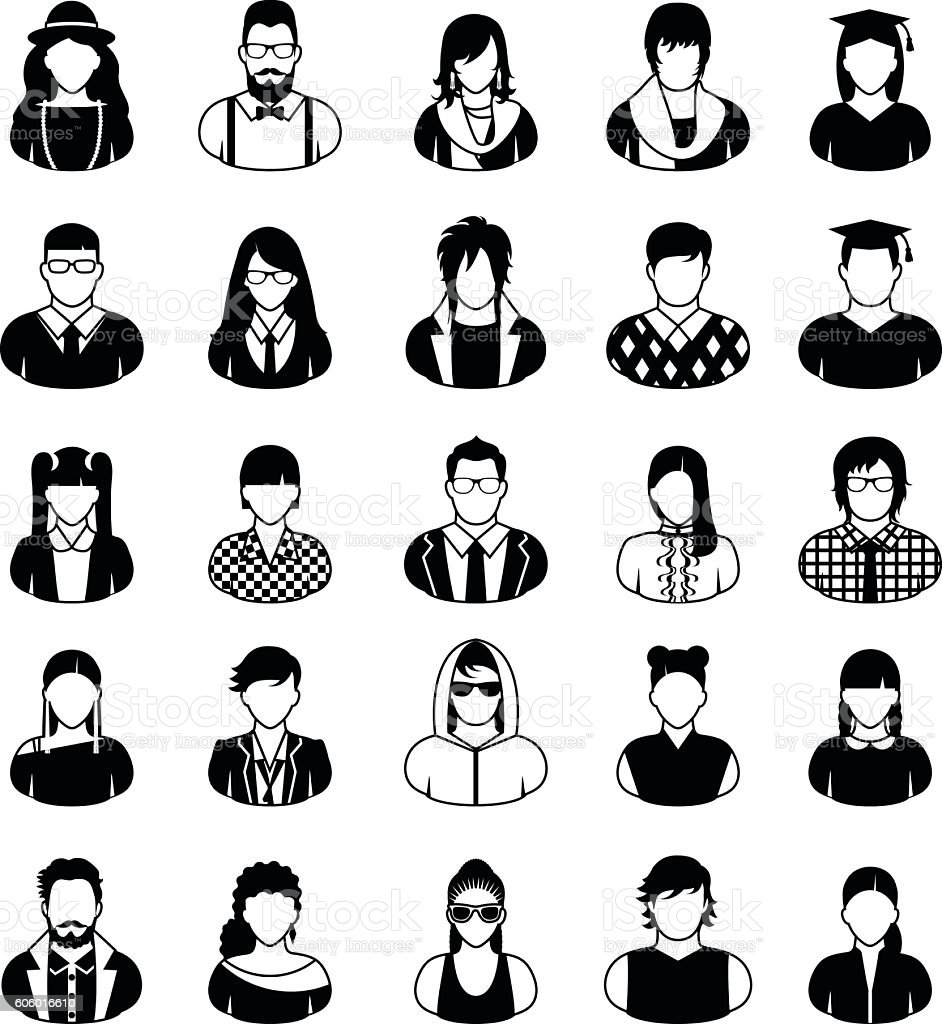 People icons in black and white. vector art illustration