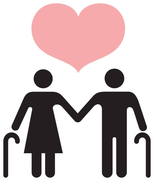 people icons in black - senior couple. - old man stick figure silhouette stock illustrations, clip art, cartoons, & icons