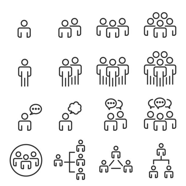 people icons line work group team vector - people stock illustrations