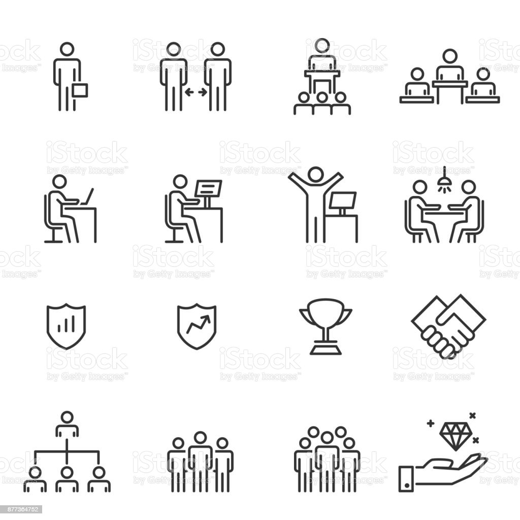 People Icons Line Work Group Team Vector vector art illustration