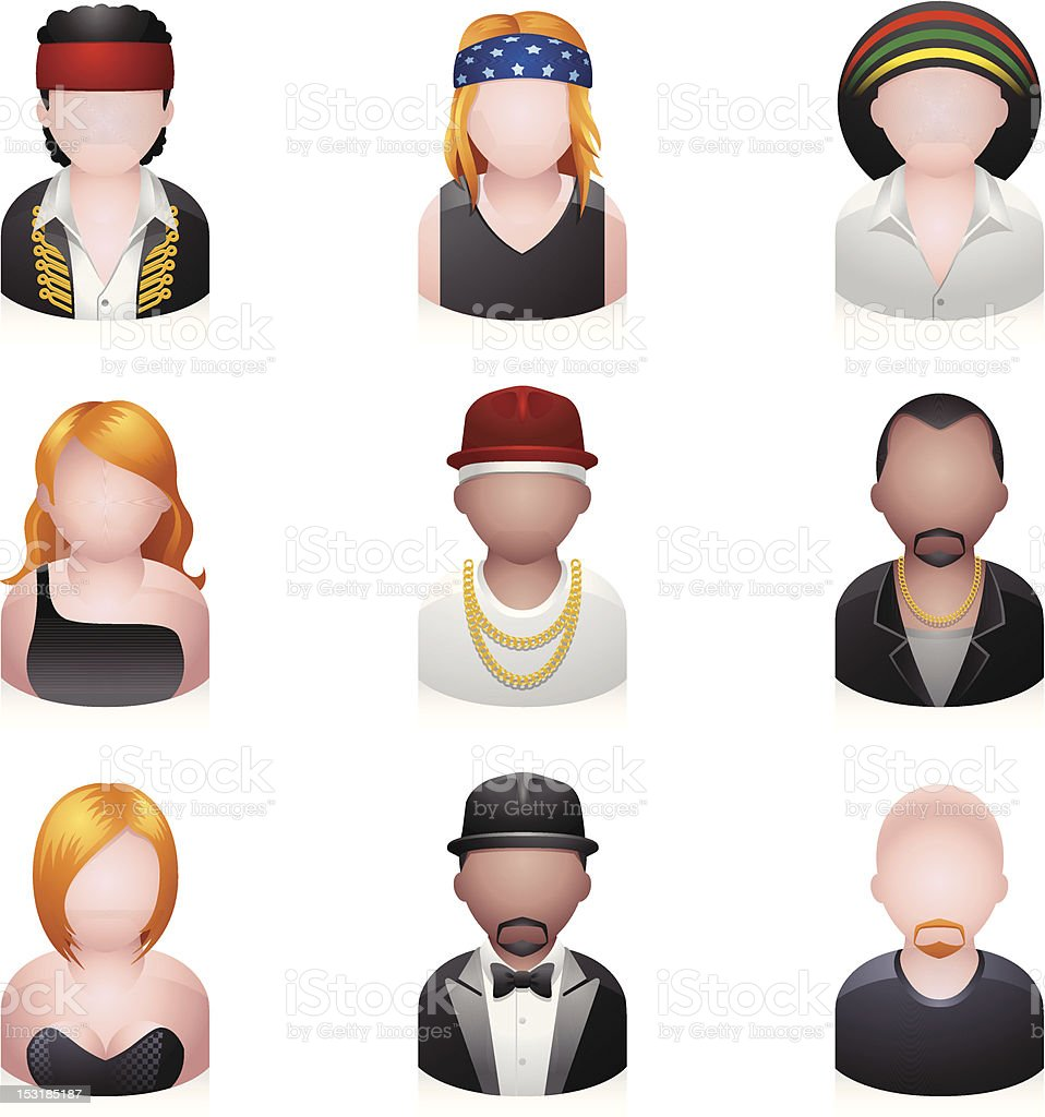 People Icons - Music vector art illustration